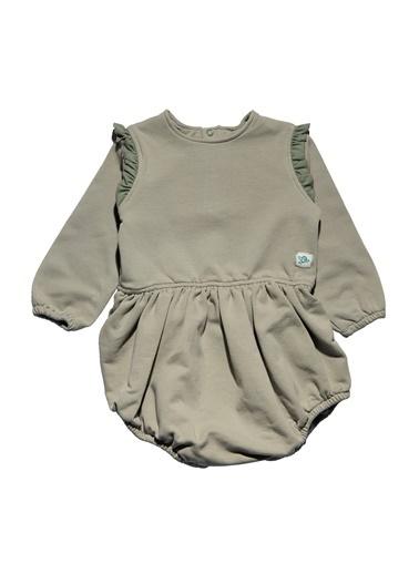 Nila Kids Açık Yeşil Rengi Fırfır Detaylı Organik Kız Bebek Tulum Elbise NK01017AY (3 AY- 1 YAş) Renkli